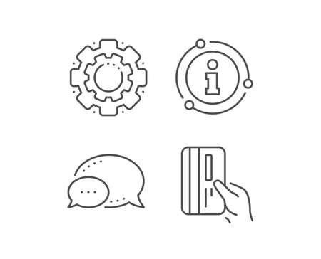 Credit card line icon. Chat bubble, info sign elements. Hold Banking Payment card sign. ATM service symbol. Linear payment card outline icon. Information bubble. Vector 版權商用圖片 - 132677590