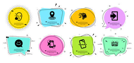 Arena stadium, Push cart and Flight destination line icons set. Chat bubbles with quotes. Smile face, Smartphone waterproof and Healthy face signs. Location, Login symbols. Vector