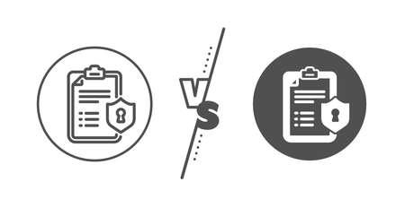 Privacy policy document sign. Versus concept. Checklist line icon. Line vs classic privacy policy icon. Vector 向量圖像