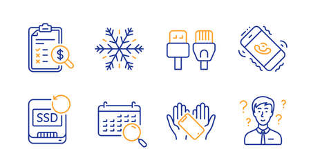Recovery ssd, Search calendar and Accounting report line icons set. Smartphone holding, Computer cables and Air conditioning signs. Call center, Support consultant symbols. Vector