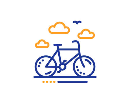 Bicycle rent sign. Bike rental line icon. Hotel service symbol. Colorful outline concept. Blue and orange thin line bike rental icon. Vector