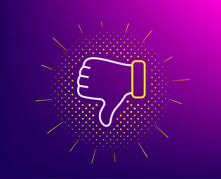 Dislike hand line icon. Halftone pattern. Thumbs down finger sign. Gesture symbol. Gradient background. Dislike hand line icon. Yellow halftone pattern. Vector Illustration