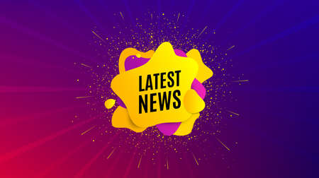 Latest news symbol. Dynamic text shape. Media newspaper sign. Daily information. Geometric vector banner. Latest news text. Gradient shape badge. Colorful background. Vector