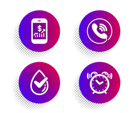 Mobile finance, Dermatologically tested and Call center icons simple set. Halftone dots button. Alarm clock sign. Phone accounting, Organic, Phone support. Time. Technology set. Vector