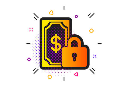 Dollar sign. Halftone circles pattern. Private payment icon. Finance symbol. Classic flat private payment icon. Vector Ilustração
