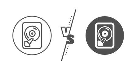Computer memory component sign. Versus concept. Hdd line icon. Data storage symbol. Line vs classic hdd icon. Vector Illustration