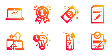 Seo devices, Water glass and Time management line icons set. Edit document, Online statistics and Bitcoin signs. Reward, Rfp symbols. Mobile stats, Soda drink. Business set. Vector Illustration