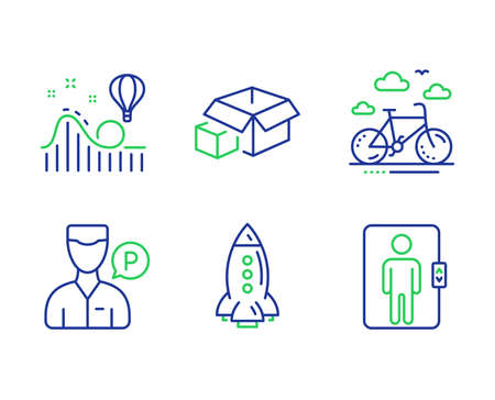 Rocket, Roller coaster and Valet servant line icons set. Bike rental, Packing boxes and Elevator signs. Spaceship, Attraction park, Parking man. Bicycle. Transportation set. Vector Vectores