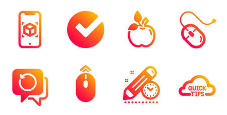 Project deadline, Augmented reality and Recovery data line icons set. Swipe up, Eco food and Verify signs. Computer mouse, Quick tips symbols. Time management, Phone simulation. Science set. Vector