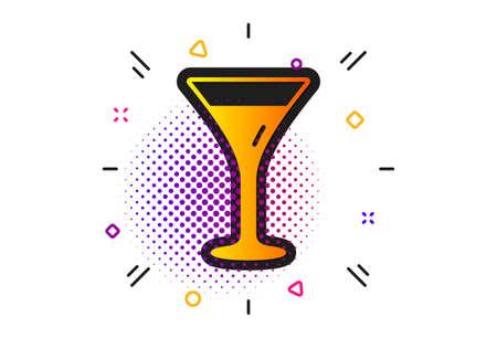Wine glass sign. Halftone circles pattern. Martini glass icon. Classic flat martini glass icon. Vector  イラスト・ベクター素材
