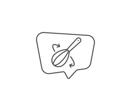 Cooking whisk line icon. Chat bubble design. Cutlery sign. Food mix symbol. Outline concept. Thin line cooking whisk icon. Vector