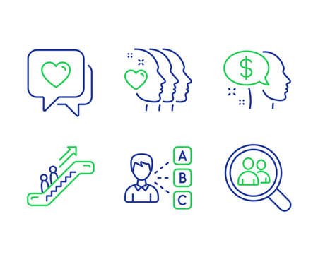 Opinion, Pay and Escalator line icons set. Friends couple, Heart and Search employees signs. Choose answer, Beggar, Elevator. Friendship. People set. Line opinion outline icons. Vector