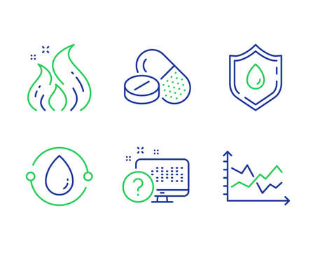 Online quiz, Blood donation and Medical drugs line icons set. Cold-pressed oil, Fire energy and Diagram chart signs. Web support, Medicine analyze, Medicine pills. Organic tested. Vector