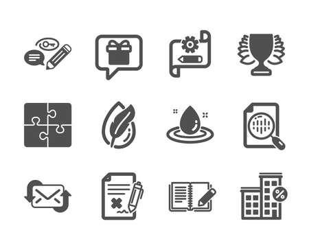 Set of Business icons, such as Winner, Fuel energy, Analytics chart, Wish list, Feedback, Loan house, Cogwheel blueprint, Puzzle, Reject file, Refresh mail, Keywords, Hypoallergenic tested. Vector Illustration