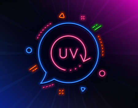 Uv protection cream line icon. Neon laser lights. Skin care sign. Cosmetic change symbol. Glow laser speech bubble. Neon lights chat bubble. Banner badge with uv protection icon. Vector