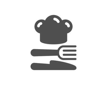 Cooking chef sign. Food icon. Fork, knife symbol. Classic flat style. Simple food icon. Vector