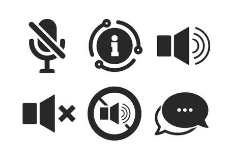 Sound, microphone and mute speaker signs. Chat, info sign. Player control icons. No sound symbol. Classic style speech bubble icon. Vector Illusztráció