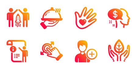 Add person, Social responsibility and Touchscreen gesture line icons set. Restaurant food, Manual doc and Pay signs. Partnership, Fair trade symbols. Edit user data, Helping hand. People set. Vector