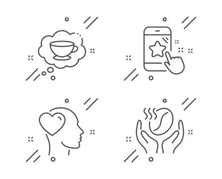 Star rating, Friend and Coffee cup line icons set. Coffee sign. Phone feedback, Love, Think bubble. Roasted bean. Line star rating outline icon. Vector