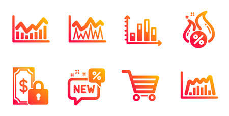 New, Diagram graph and Infochart line icons set. Investment, Hot loan and Market sale signs. Private payment, Infographic graph symbols. Discount, Presentation chart. Finance set. Vector