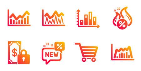 Nuovo, diagramma grafico e set di icone della linea Infochart. Segni di investimento, prestito caldo e vendita di mercato. Pagamento privato, simboli grafici infografica. Sconto, grafico di presentazione. Insieme di finanza. Vettore Vettoriali