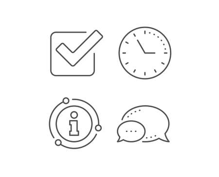 Check line icon. Chat bubble, info sign elements. Approved Tick sign. Confirm, Done or Accept symbol. Linear checkbox outline icon. Information bubble. Vector