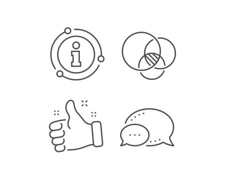 Euler diagram line icon. Chat bubble, info sign elements. Eulerian circles sign. Relationships chart symbol. Linear euler diagram outline icon. Information bubble. Vector