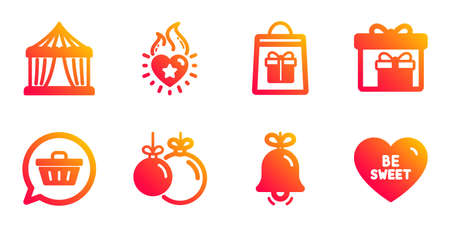 Delivery boxes, Bell and Holidays shopping line icons set. Circus tent, Shopping cart and Heart flame signs. Christmas ball, Be sweet symbols. Birthday gifts, Alarm signal. Holidays set. Vector