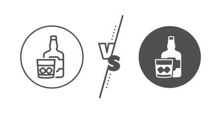 Scotch alcohol sign. Versus concept. Whiskey glass with ice cubes line icon. Line vs classic whiskey glass icon. Vector