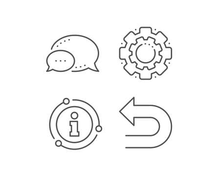 Undo arrow line icon. Chat bubble, info sign elements. Left turn direction symbol. Navigation pointer sign. Linear undo outline icon. Information bubble. Vector