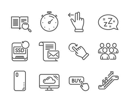 Set of Technology icons, such as Timer, Buy button, Cloud storage, Search text, Escalator, Touchscreen gesture, Mail letter, Group, Rotation gesture, Recovery ssd, Sleep, Smartphone cover. Vector