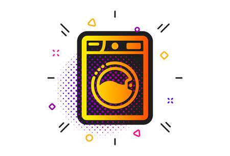Laundry service sign. Halftone circles pattern. Washing machine icon. Clothing cleaner symbol. Classic flat washing machine icon. Vector Illustration