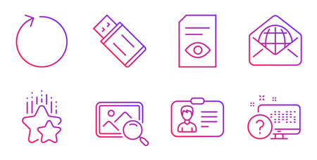 Loop, View document and Identification card line icons set. Ranking stars, Usb flash and Search photo signs. Web mail, Online quiz symbols. Refresh, Open file. Technology set. Vector Vektoros illusztráció