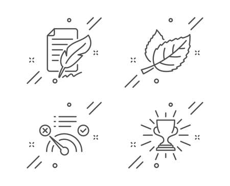 Feather signature, Leaf and No internet line icons set. Trophy sign. Feedback, Nature leaves, Bandwidth meter. Winner cup. Business set. Line feather signature outline icon. Vector