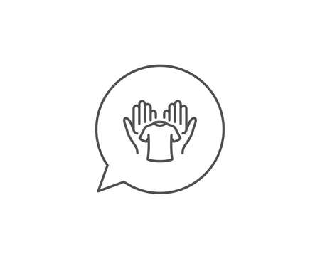 Hold t-shirt line icon. Chat bubble design. Laundry shirt sign. Clothing cleaner symbol. Outline concept. Thin line hold t-shirt icon. Vector