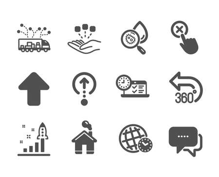 Set of Technology icons, such as Swipe up, Home, Reject click, Development plan, Time zone, Upload, Truck delivery, Message, Online test, 360 degrees, Water analysis, Consolidation. Vector Illustration