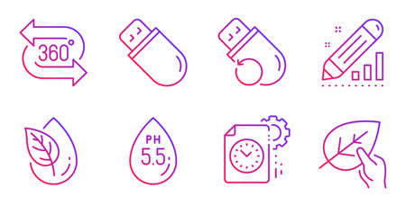 360 degree, Project deadline and Flash memory line icons set. Organic product, Edit statistics and Usb stick signs. Ph neutral, Organic tested symbols. Virtual reality, Time management. Vector Illustration