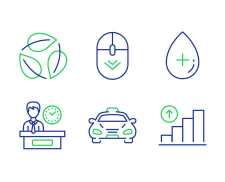 Scroll down, Leaves and Presentation time line icons set. Taxi, Oil serum and Graph chart signs. Mouse swipe, Nature leaf, Report. Public transportation. Business set. Vector Ilustração