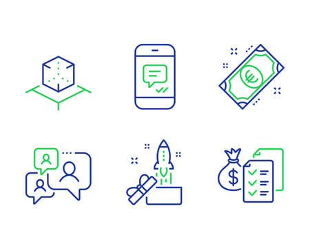 Augmented reality, Support chat and Euro money line icons set. Message, Innovation and Accounting wealth signs. Virtual reality, Comment bubble, Cash. Phone messenger. Business set. Vector