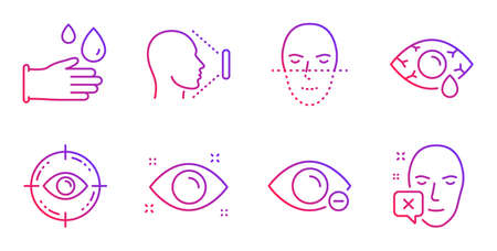 Rubber gloves, Face id and Сonjunctivitis eye line icons set. Myopia, Face recognition and Eye target signs. Hygiene equipment, Identification system. Medical set. Gradient rubber gloves icon. Vector Illustration