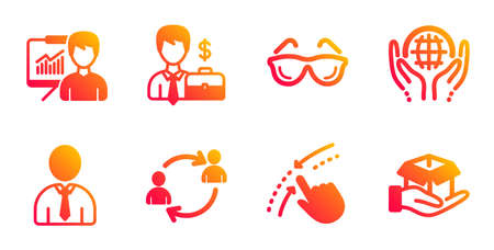 Organic tested, Businessman case and User communication line icons set. Presentation, Swipe up and Human signs. Eyeglasses, Hold box symbols. Safe nature, Human resources. People set. Vector