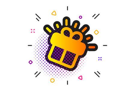 Present box sign. Halftone circles pattern. Gift icon. Brand marketing symbol. Classic flat gift icon. Vector