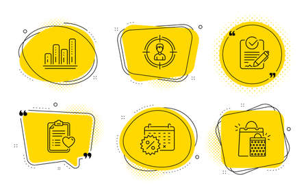 Patient history, Calendar discounts and Shopping bags signs. Chat bubbles. Headhunting, Rfp and Graph chart line icons set. Person in target, Request for proposal, Growth report. Vector Illustration