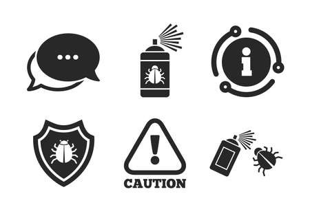 Caution attention and shield symbols. Chat, info sign. Bug disinfection icons. Insect fumigation spray sign. Classic style speech bubble icon. Vector