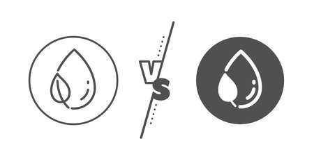 Nature plant dew sign. Versus concept. Mint leaf with water drop line icon. Environmental care symbol. Line vs classic leaf dew icon. Vector  イラスト・ベクター素材