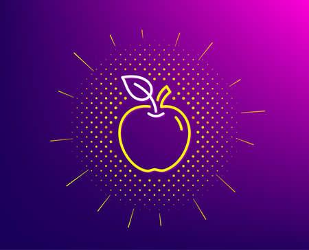 Apple line icon. Halftone pattern. Fresh fruit sign. Natural food symbol. Gradient background. Apple line icon. Yellow halftone pattern. Vector