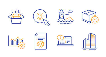 Operational excellence, Online documentation and Lighthouse line icons set. Technical documentation, Energy and Delivery timer signs. Packing boxes, Skyscraper buildings symbols. Vector Ilustração