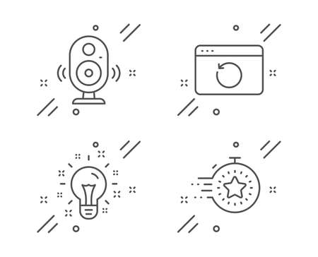 Recovery internet, Speaker and Idea line icons set. Timer sign. Backup info, Music sound, Creativity. Deadline management. Science set. Line recovery internet outline icon. Vector