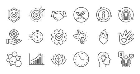 Core values line icons. Integrity, Target purpose and Strategy. Trust handshake, social responsibility, commitment goal icons. Linear set. Quality line set. Vector