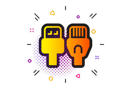 Usb, connection wires. Halftone circles pattern. Computer cables icon. Classic flat computer cables icon. Vector